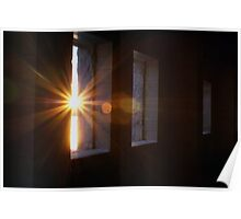 sunflare inside the old stone chuch windows Poster