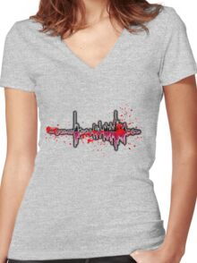 Abstract Wave Women's Fitted V-Neck T-Shirt