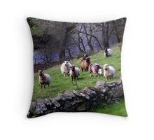 Sheep on Hill Throw Pillow