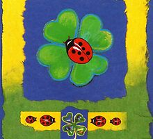 FOUR-LEAFED CLOVER WITH LADY BUGS - FOR GOOD LUCK - Mixed Media-Collage-Design by RubaiDesign