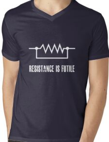 Resistance is futile - White foreground Mens V-Neck T-Shirt