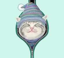 Cat in the zip by tummeow