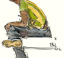 young black guy with headphones by HikingArtistCom