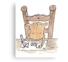 Moo D. Cow practising writing  Canvas Print