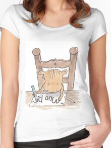 Moo D. Cow practising writing  Women's Fitted Scoop T-Shirt