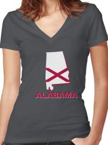 alabama state flag Women's Fitted V-Neck T-Shirt