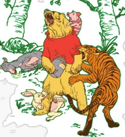 Winnie the Pooh bear gone crazy Sticker