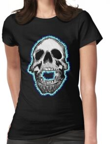 Flaming Skull Tee (blue) Womens Fitted T-Shirt