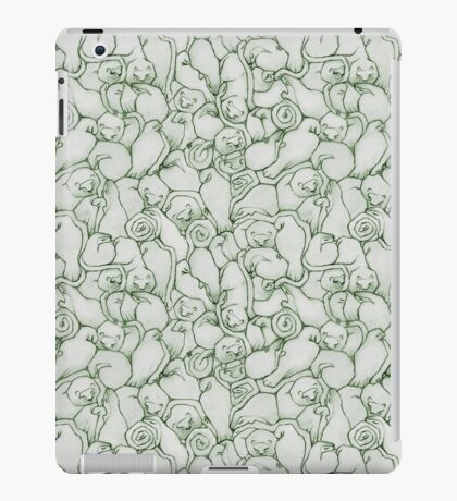 Sleepy House Animal Pattern - green and silver iPad Case/Skin