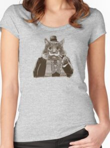Mustache Cat Women's Fitted Scoop T-Shirt