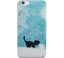 Cat Silhouette in Snow: Kitten and Snowball iPhone Case/Skin