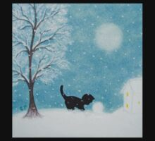 Cat Silhouette in Snow: Kitten and Snowball Kids Clothes