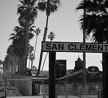 B&W San Clemente Train Stop by polylongboarder