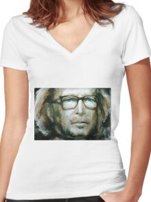 Eric Clapton watercolor Women's Fitted V-Neck T-Shirt