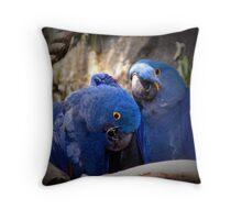 Blue Parrot Loving Throw Pillow