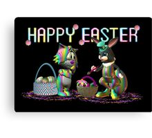 Easter Rabbit going crazy with a paint brush Canvas Print