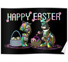 Easter Rabbit going crazy with a paint brush Poster