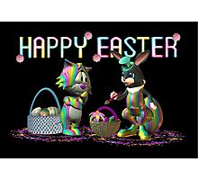 Easter Rabbit going crazy with a paint brush Photographic Print