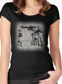 Peace Through Botany with background Women's Fitted Scoop T-Shirt