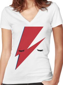 Minimalist Aladdin Sane album cover Women's Fitted V-Neck T-Shirt