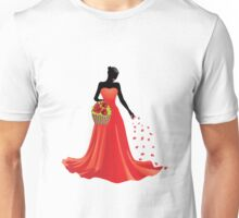 Girl and basket of roses Unisex T-Shirt