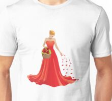 Girl and basket of roses 2 Unisex T-Shirt