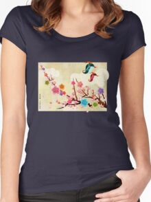 Peach Blossoms and Birds Women's Fitted Scoop T-Shirt
