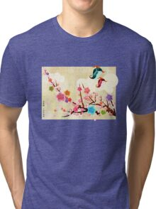 Peach Blossoms and Birds Tri-blend T-Shirt