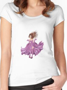 Girl in Flowing Dress 2 Women's Fitted Scoop T-Shirt