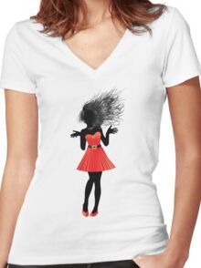 Girl in red dress Women's Fitted V-Neck T-Shirt
