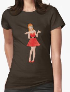 Girl in red dress 2 Womens Fitted T-Shirt