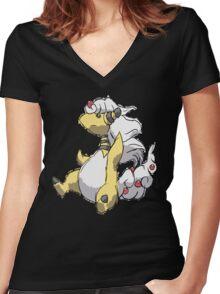 Ben's Mega Ampharos Women's Fitted V-Neck T-Shirt