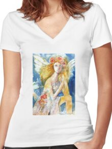 Angel in Waiting Women's Fitted V-Neck T-Shirt