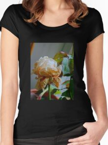 Fading white rose 4 Women's Fitted Scoop T-Shirt