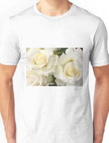 Close up of white roses Unisex T-Shirt