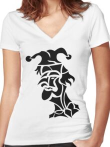 harlequin tattoo turned to left Women's Fitted V-Neck T-Shirt