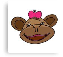 cartoon style monkey head Canvas Print