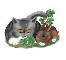 Bunny and Kitten Find Four Leaf Clover Photographic Print