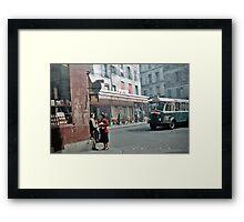 Vintage Paris Street Life 1956 Bus Framed Print