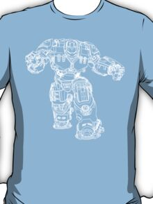 Tony Stark's Hulkbuster Suit Armour , White outline no fill T-Shirt
