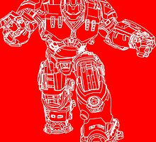 Tony Stark's Hulkbuster Suit Armour , White outline no fill by Adamasage