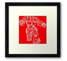 Tony Stark's Hulkbuster Suit Armour , White outline no fill Framed Print