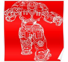 Tony Stark's Hulkbuster Suit Armour , White outline no fill Poster