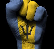 Flag of Barbados on a Raised Clenched Fist  by Jeff Bartels