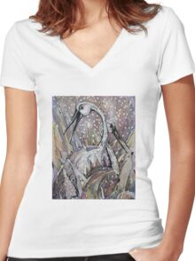 IBISES, The Love dance of Ibises Women's Fitted V-Neck T-Shirt