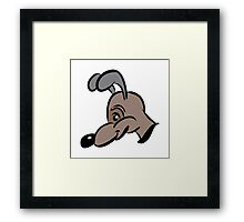 cartoon style dog in brown Framed Print