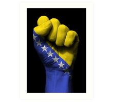 Flag of Bosnia Herzegovina on a Raised Clenched Fist  Art Print