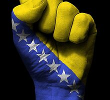 Flag of Bosnia Herzegovina on a Raised Clenched Fist  by Jeff Bartels