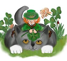 Kitten and Leprechaun Find a Four Leaf Clover by NineLivesStudio