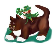 Kitten Gives this Lucky Leprechaun a Ride by NineLivesStudio